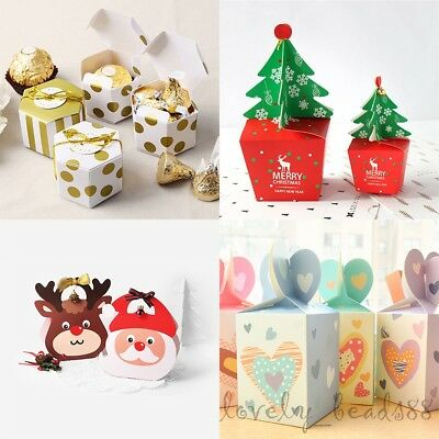 20/50/100X Xmas Cake Candy Apple Box Santa Claus/Deer Style Favor Party Gifts