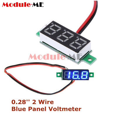 "0.28"" 2 Wire Mini DC Digital Panel Voltmeter Panel Mount LED Voltage Blue NEW"