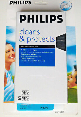 Philips SBCVC 200 VHS Video Head Cleaner & Protects Tape (Wet System)