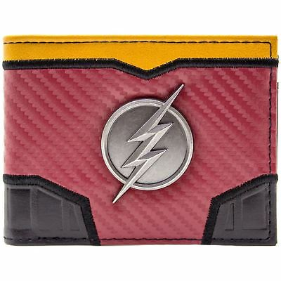 New Official Dc Flash Suit Up Silver Lightning Badge Red Id & Card Bifold Wallet