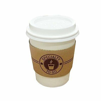 Coffee cups paper to go hot 12 oz white with lids and sleeve Disposable mug for