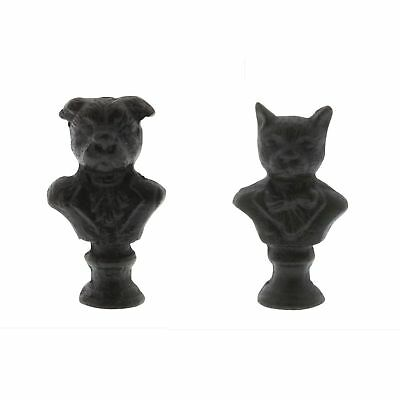 Whimsical Antique Style Dog Cat Cast Iron Bust Pair | Set Mini Statue Animal
