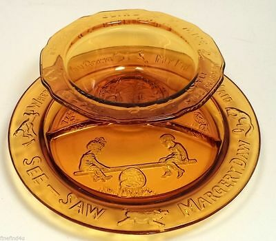 Vtg Amber Glass 2 Pc Child Baby Mother Goose Divided Plate & Bowl Jack & Jill...