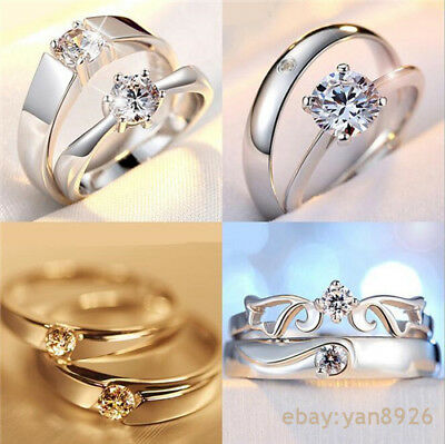 2PCS Silver Wedding Anniversary Diamond Crystal gem Engagement Ring GIFT