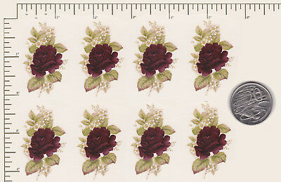 "8 x Ceramic decals Decoupage Deep Red Roses Flower 2"" x 1"" COMBINE POSTAGE PD93a"