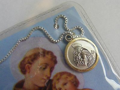 Vintage nos St Anthony medal pendant silver gold tone chain necklace prayer card