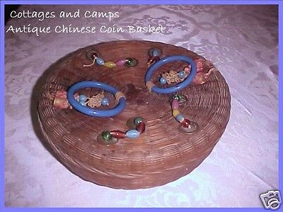 Antique Chinese Wicker Sewing Basket Peking Glass Blue Ring Handles Beads Coins