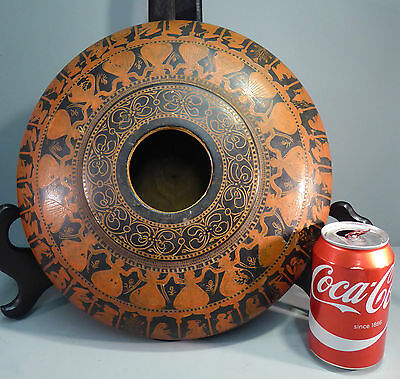 Antique Indian Lacquer on Wood Large Sgrafitto Tobacco Bowl /Box
