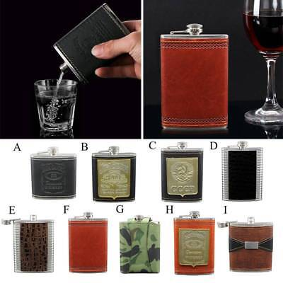 Engraved Leather Wrapped Stainless Steel Hip Flask Portable Whiskey Flagon 6-9oz
