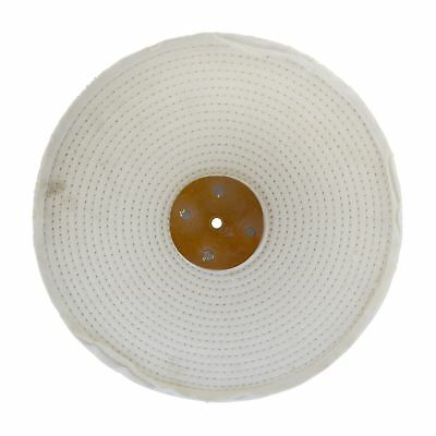 """White Close Stitched Metal Polishing Buffing Mop 12"""" x 2"""" 4 section 2nd Stage"""