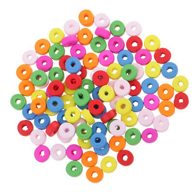 100x Colorful Wooden Rondelle Spacer Beads Charms for Jewelry Making DIY 8mm