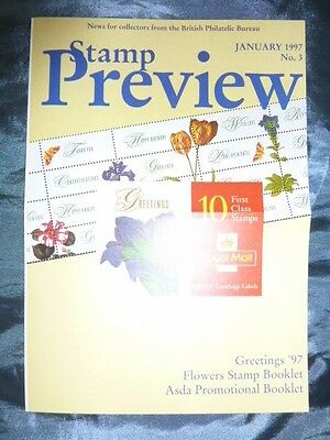 British Stamp Preview No. 3 January 1997 Royal Mail leaflet Flowers Philatelic