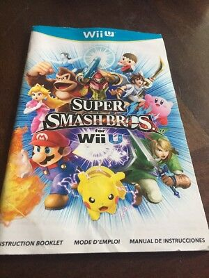 Super Smash Bros Nintendo Wii U Used Manual Only
