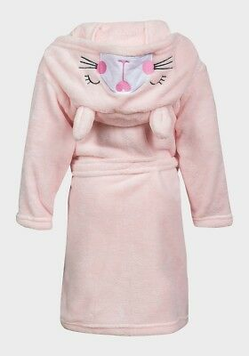 Girls Fleece Bathrobe, Pink Bunny Dressing Gown by Minoti - Ages 6 mths-3 years