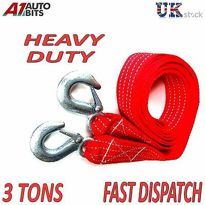 3 TONNE 3T 3.5M Tow Towing Pull Rope Strap Heavy Duty Road Recovery Car Van 4x4
