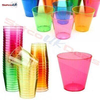 Disposable Neon Coloured Shot Glasses Party Jelly Cups 30ml Hen PArty Bar Pub Uk