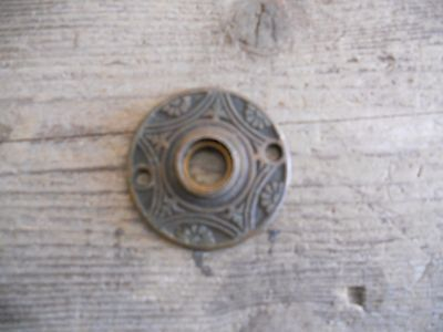 Vtg Brass Eastlake Daisy Pentagon Antique Door Knob Backplate Rosette/escutcheon