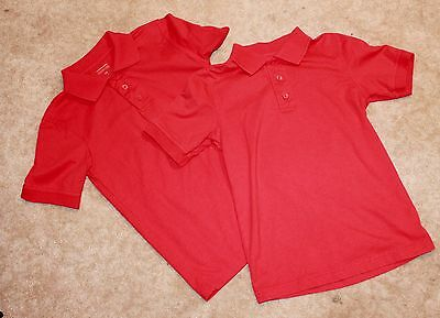 Lot of 2 DENNIS UNIFORMS Youth Medium POLO SHIRT (red w/ short sleeves) Perfect