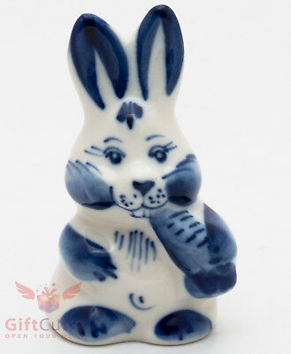 Easter Bunny Rabbit Hare with carrot Gzhel Porcelain Figurine gift hand-painted