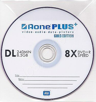 5 Pk AONE PLUS DOUBLE LAYER GOLD EDITION 8X DVD+R