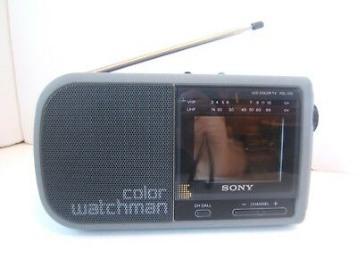 Sony Watchman LCD Color TV FDL-370 Small Portable Television Tested Has Power