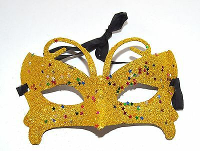 NEW Gold butterfly glitter Masquerade Mask Eye Gothic halloween fancy dress