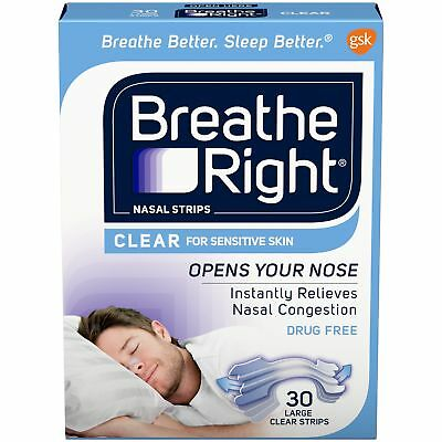 Nasal Strips Breathe Right Clear Color Sensitive Skin Large Size 30 Strips