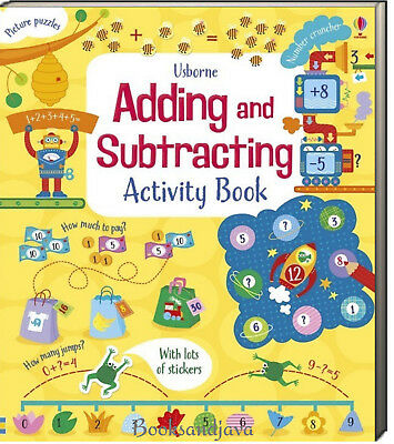 Usborne Adding and Subtracting Activity book (pb) puzzles, money, stickers NEW
