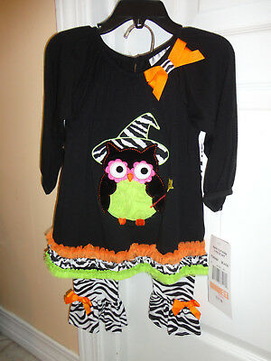 nwt rare editions toddler girls halloween owl 2 pc dresses with leggings 2t