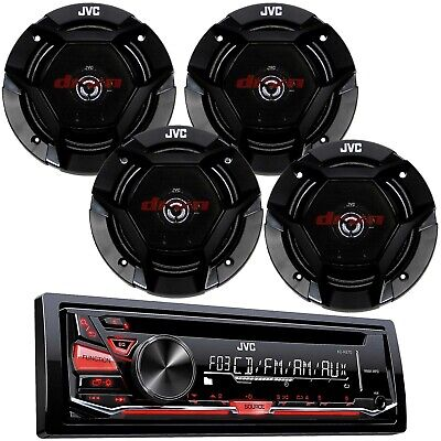 """JVC Stereo CD MP3 AUX Player Radio Receiver w/ 6.5"""" 2-Way Car Audio Speakers"""