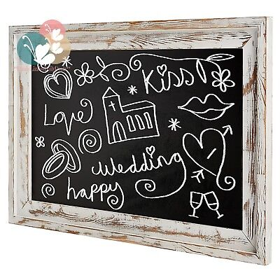 Shabby Chic Wall Mounted White Washed Wood Framed Chalkboard,