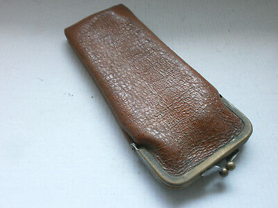 Antique  Vintage  Purse , Wallet from  Leather and Bronze - Germany - № 1