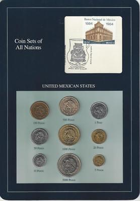 Coin Sets of All Nations - Mexico, 9 coins, Blue card