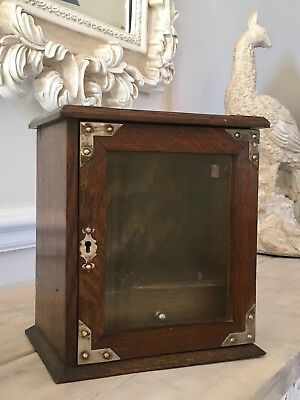 19Th / Early 20Th Century English Oak Smokers Cabinet With Silver Plated Mounts