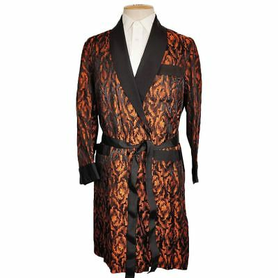 Vintage 1950s Mens Dressing Gown Orange and Black Pattern Lounging Robe S M