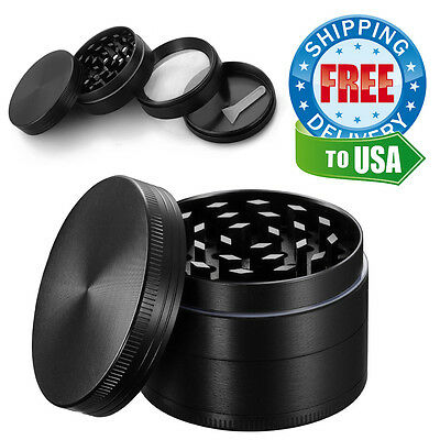 4 Piece Tobacco Herb Grinder Spice Herbal Black Zinc Alloy Smoke Crusher 2 Inch