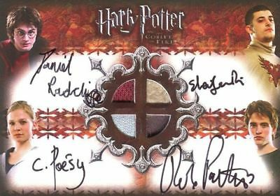 Harry Potter and the Goblet of Fire Update Quad Autograph Costume Card HP