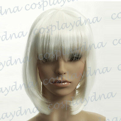 12 inch Hi_Temp Series White A-Line Bob Short Cosplay DNA Wigs 91101