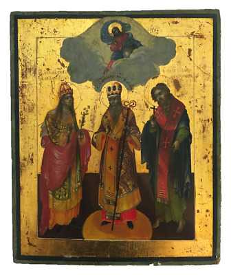 19th Century Russian Icon Painting on Wood.