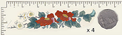 "4 x Waterslide Ceramic decals Red Oriental florals Approx. 5 1/4"" x 1 1/4"" PD938"