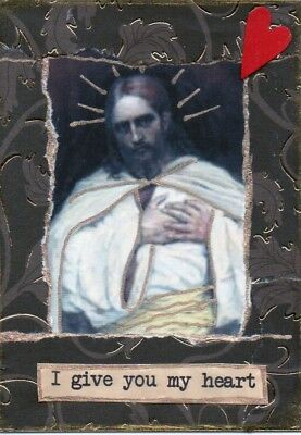 "ATC Aceo card "" I give you my heart"", religious, Jesus"