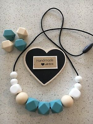 Silicone Sensory Necklace for Mum (was teething) Gift Beads Aus Sell Teal