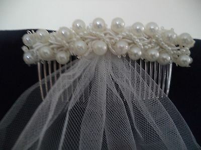 Bridal, Wedding, Beautiful Pearl Comb with short veil Ivory