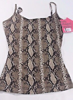 YUMMIE TUMMIE Julia S Slimming Snakeskin Print Taupe Brown Stretch CAMISOLE