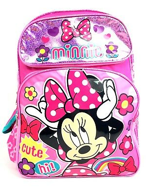 16in Disney Minnie Mouse 3D Happy Face White Dot Large School Backpack