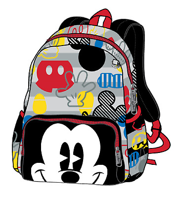 12in Licensed Mickey Mouse Happy Face 3D Black Small Toddler School Backpack