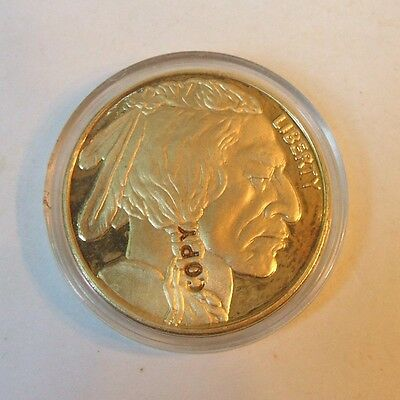 2014 Gold Plated Buffalo Indian Head Liberty Coin Marked COPY in plastic case