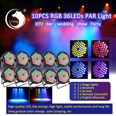 10Pack DJ PAR38 Wash RGB 18 LED Lights PAR64 DMX Stage Lighting DJ Party Lights