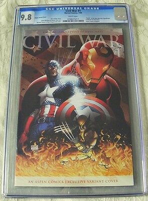 Marvel CIVIL WAR #1 COMIC  Michael Turner  Aspen VARIANT Cover  CGC 9.8 grade