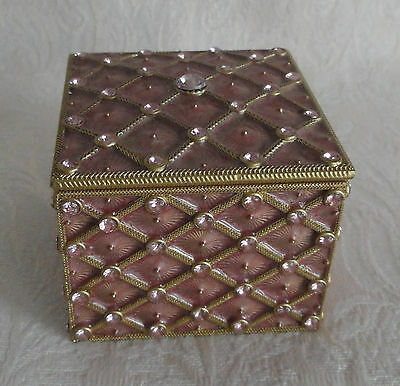 Vintage Metal Trinket Jewelry Box - Pink, Gold, Crystals Cloisonne-Type HEAVY